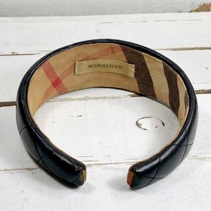 Burberry Black Quilted Leather Head Band